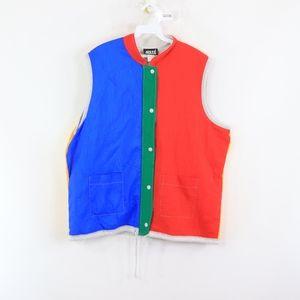 70s Mens XL Multi Color Block Full Button Vest
